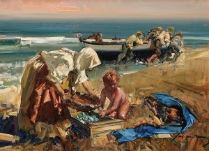 Eustaquio Segrelles Nina en la Playa image courtesy the artist and Greenhouse Fine Art