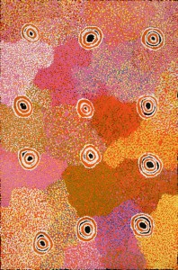 Margaret Napangardi Brown Mina Mina Jukurrpa (Mina Mina Dreaming) image courtesy the artist and Booker-Lowe Gallery